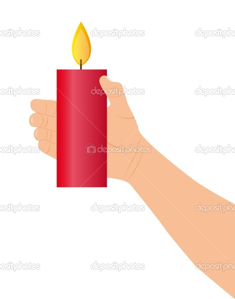 Hand holding red candle over white background. vector — Stock Vector #7960766