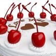 Stock Photo: St Valentines day: cake with cherries isolated