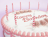 Happy birthday: cake with candles — Stock Photo