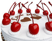 St Valentines day: cake with cherries isolated — Stock Photo