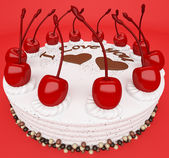 Valentines day: tasty cake with cherries on red — Stock Photo
