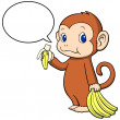 Stock Vector: Monkey happily eating banana