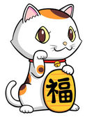 Lucky cat with the gold — Stock Vector
