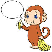 The monkey happily eating a banana — Stock Vector