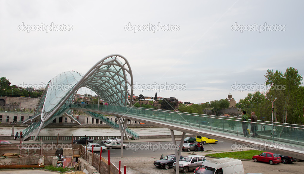 New futuristic bridge in Tbilisi (Georgia) — Stock Photo #6888835
