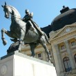 Bucharest view - Carol I statue and central Library — Stock Photo