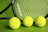 Tennis racket and balls. — Stock Photo