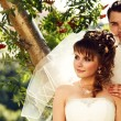 Happy and beautiful newlyweds - Foto Stock