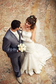 Newlyweds embraces — Stock Photo