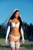Sexy bride in lingerie — Stock Photo
