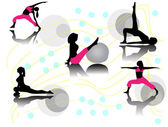 Pilates women silhouettes — Stock Vector