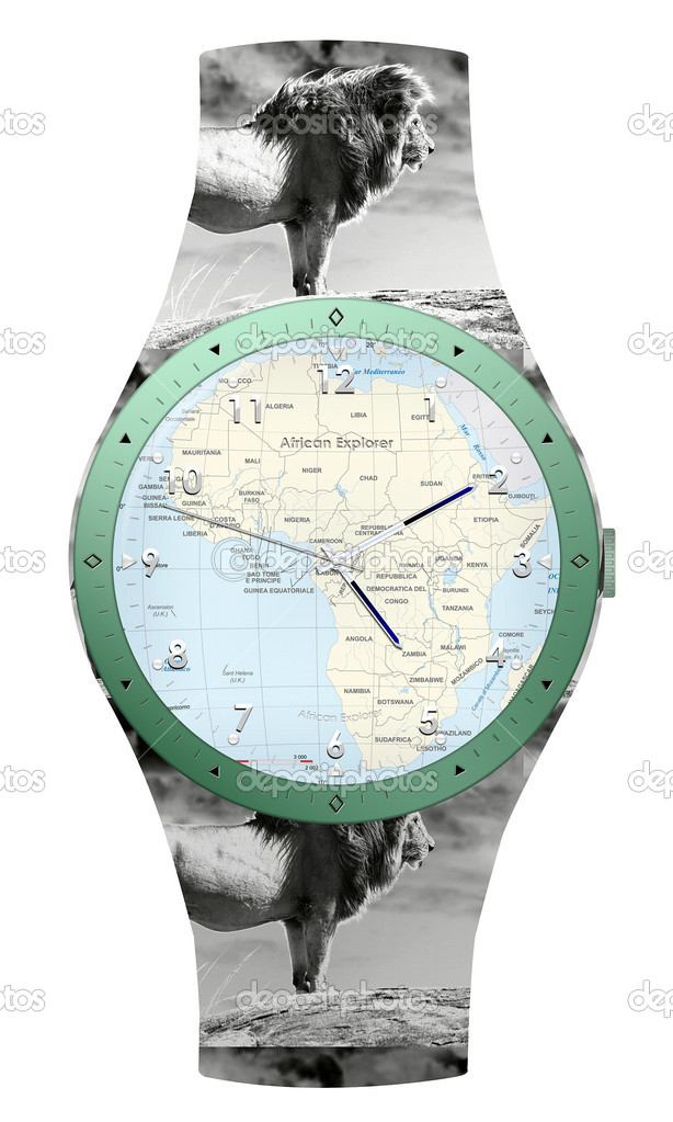 Travel to Africa watch. African Continent with animals illustration — Stock Photo #6821604