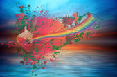 Music rainbow and ocean — Stockfoto