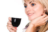 Nice blonde with cup — Stock Photo