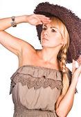 一顶帽子的漂亮女孩 — 图库照片
