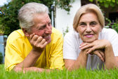 Süße alte Paar im freien — Stockfoto