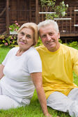 Smart old couple outdoors — Stock Photo