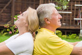 Pretty old couple outdoors — Stock Photo
