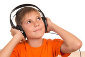 Chico con auriculares — Foto de Stock