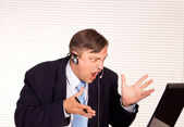 Man with microphone — Stock Photo