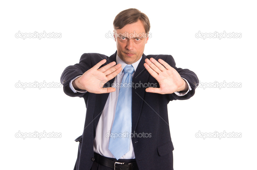 Portrait of a nice  businessman posing on white — Stock Photo #6822338