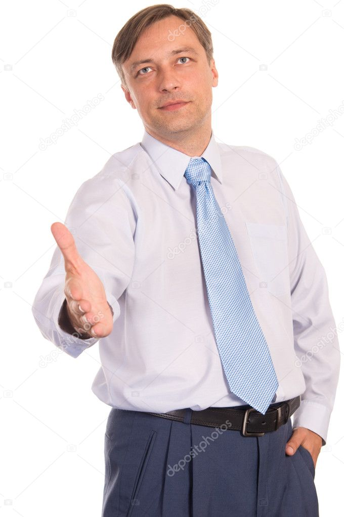 Portrait of a cute businessman on white  Stock Photo #6831496