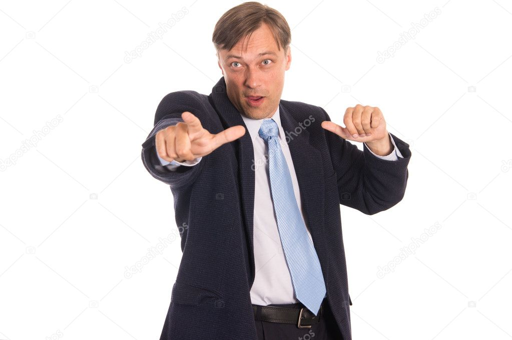 Portrait of a nice  businessman posing on white  Stock Photo #6832741