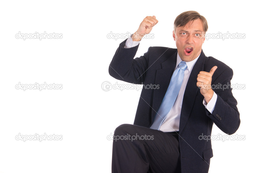 Portrait of a nice  businessman posing on white — Stock Photo #6833754