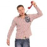 Guy with telephone — Stock Photo