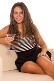 Girl with a glass — Stock Photo