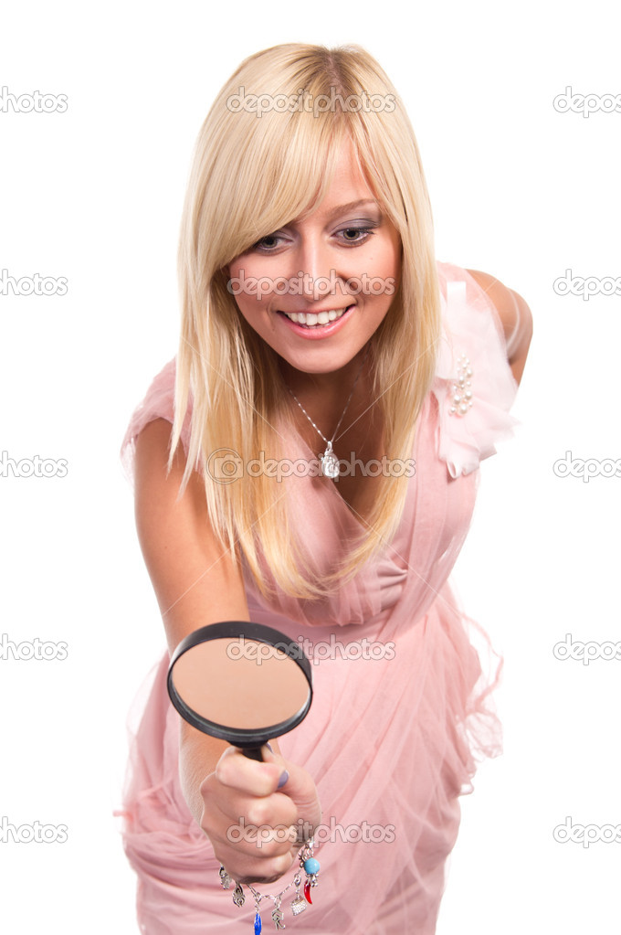 Cute blonde posing on a white background  Stock Photo #6940183