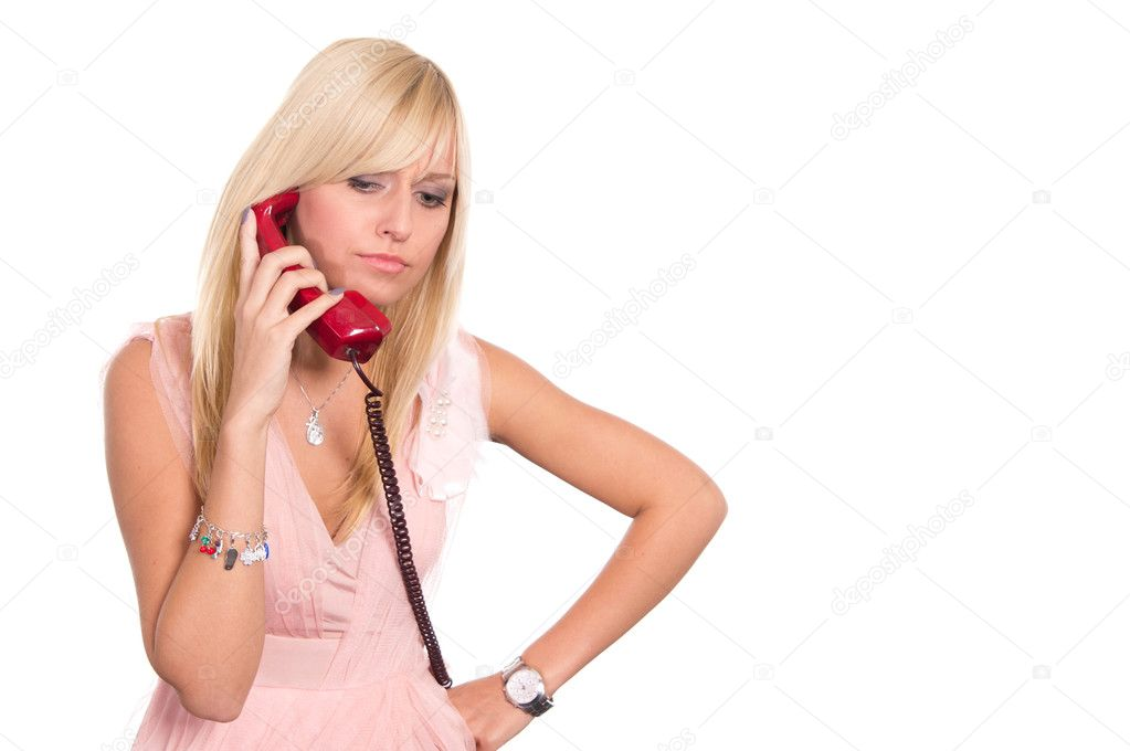 Cute blonde posing on a white background — Stock Photo #6940245