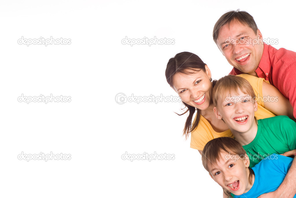 Nice family of a four on a white — Stock Photo #6943095