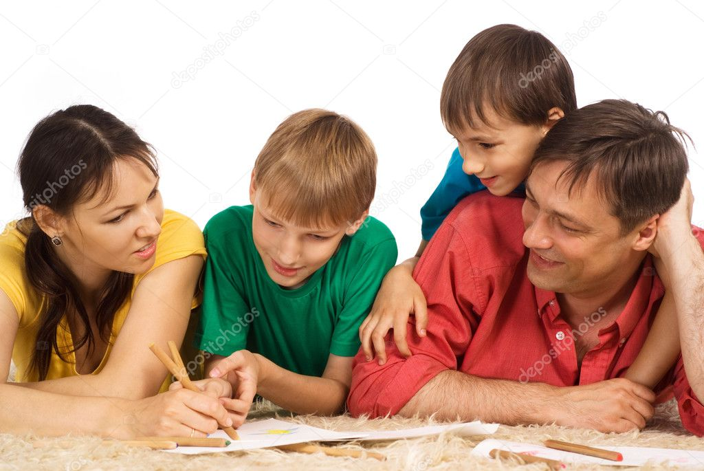 Nice family of a four on a white — Stock Photo #6943096