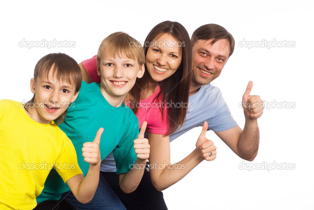 Family of a four on a  white — Stock Photo #6943100