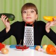 Cute woman with vegetables — Foto de Stock
