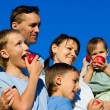 Stock Photo: Family apples eating