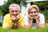 Cute old couple outdoors — Stock Photo