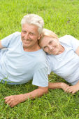 Old couple on grass — Stock Photo