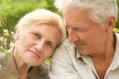 Elderly couple at nature — Stock Photo