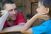 Uncle and son — Stock Photo