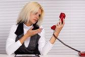 Girl at telephone — Stock Photo