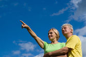 Old couple at sky — Stock Photo