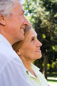 Old couple posing — Stock Photo