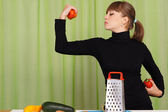 Girl play with vegetables — Stock Photo