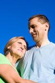 Hombre con mamá en el cielo — Foto de Stock