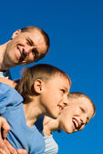 Uncle and sons — Stock Photo