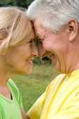 Cute old couple at nature — Stock Photo