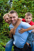 Uncle with kids — Stock Photo
