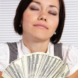 Girl and money — Stock Photo
